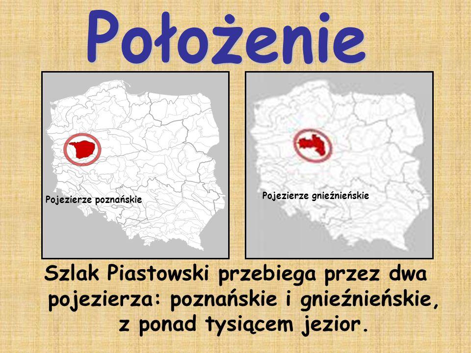 Szlak Piastowski przebiega przez dwa pojezierza: poznańskie i gnieźnieńskie, z ponad tysiącem jezior. Pojezierze poznańskie Pojezierze gnieźnieńskie