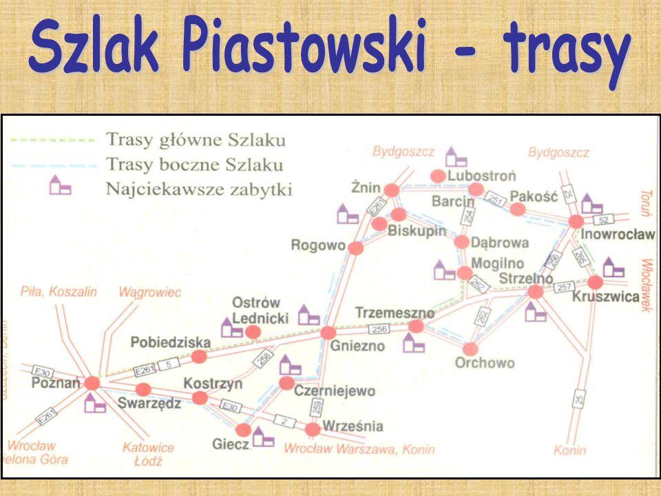 Poznań, Pobiedziska, Ostrów Lednicki, Trzemeszno, Mogilno, Strzelno, Kruszwica, Inowrocław.