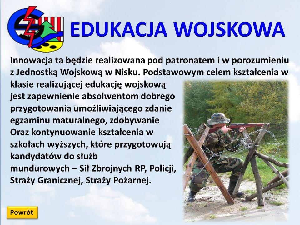 Powrót Innowacja ta będzie realizowana pod patronatem i w porozumieniu z Jednostką Wojskową w Nisku. Podstawowym celem kształcenia w klasie realizując
