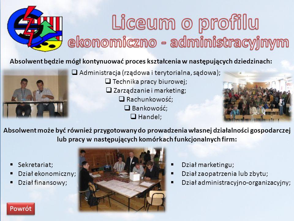 Absolwent będzie mógł kontynuować proces kształcenia w następujących dziedzinach: Administracja (rządowa i terytorialna, sądowa); Technika pracy biuro