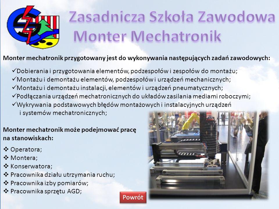 Monter mechatronik przygotowany jest do wykonywania następujących zadań zawodowych: Dobierania i przygotowania elementów, podzespołów i zespołów do mo