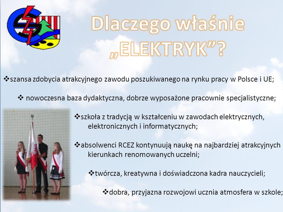 szansa zdobycia atrakcyjnego zawodu poszukiwanego na rynku pracy w Polsce i UE; nowoczesna baza dydaktyczna, dobrze wyposażone pracownie specjalistycz