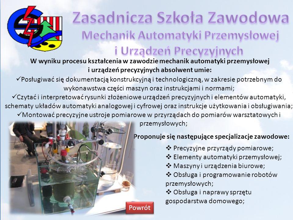 W wyniku procesu kształcenia w zawodzie mechanik automatyki przemysłowej i urządzeń precyzyjnych absolwent umie: Posługiwać się dokumentacją konstrukc