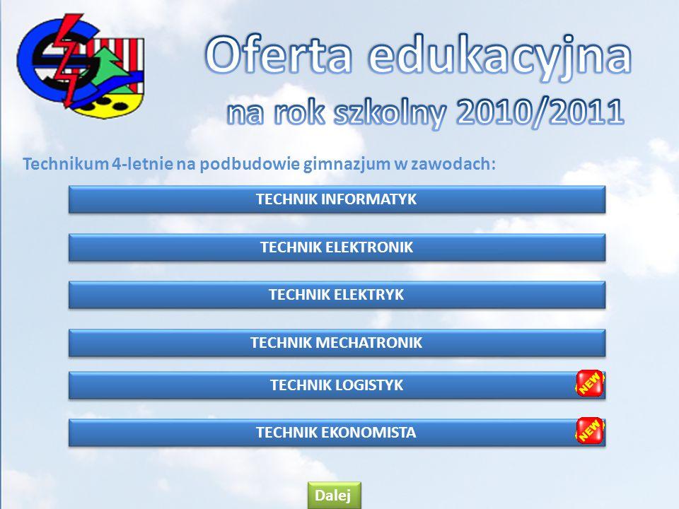 Technikum 4-letnie na podbudowie gimnazjum w zawodach: TECHNIK INFORMATYK TECHNIK ELEKTRONIK TECHNIK ELEKTRYK TECHNIK ELEKTRYK TECHNIK MECHATRONIK TEC