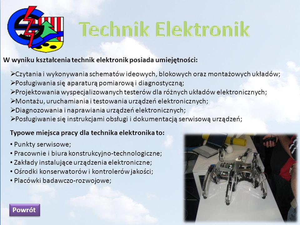 W wyniku kształcenia technik elektronik posiada umiejętności: Czytania i wykonywania schematów ideowych, blokowych oraz montażowych układów; Posługiwa