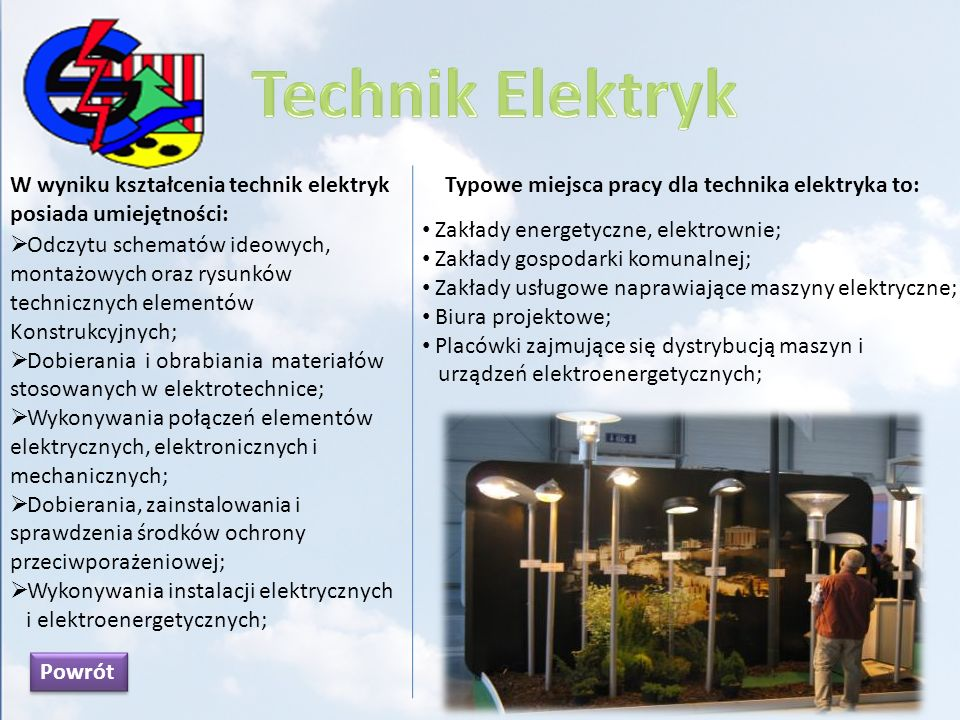 W wyniku kształcenia w zawodzie absolwent umie: Interpretować zjawiska oraz prawa z zakresu elektrotechniki, elektroniki i telekomunikacji; Mierzyć wielkości elektryczne w obwodach prądu stałego i przemiennego; Montować elementy i podzespoły mechaniczne stosowane w urządzeniach telekom; Instalować kable telekomunikacyjne w różnych środowiskach; Wykonywać instalacje telefoniczne w budynkach na podstawie dokumentacji technicznej; Usuwać usterki w sieciach telekomunikacyjnych; Monterzy sieci i urządzeń telekomunikacyjnych mogą podejmować pracę w: Zakładach telekomunikacji; Zakładach wykonujących montaż sieci i urządzeń telekomunikacyjnych; Zakładach wytwórczych sprzętu i urządzeń dla telekomunikacji; Zakładach handlu i napraw sprzętu telekomunikacyjnego; Powrót