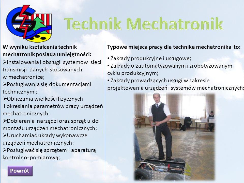W wyniku kształcenia technik logistyk posiada umiejętności: Posługiwania się aktami prawnymi i normami dotyczącymi transportu kolejowego, lotniczego, drogowego, morskiego, śródlądowego; Planowania i zarządzania wykorzystaniem zapasów magazynowych; Organizować transport zgodnie z zasadami przepływu materiałów; Organizowania i realizowania usług recyklingowych; Stosowania zasad logistyki w gospodarce; Zarządzania łańcuchem dostaw towarów; Kontrolować przebieg ładunku; Typowe miejsca pracy dla technika logistyk to: Przedsiębiorstwa przemysłowe; Zakłady handlowe i dystrybucyjne; Placówki usługowo – transportowe; Jednostki samorządu terytorialnego; Powrót