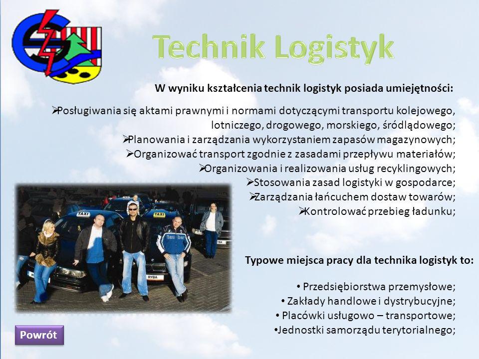 W wyniku kształcenia technik logistyk posiada umiejętności: Posługiwania się aktami prawnymi i normami dotyczącymi transportu kolejowego, lotniczego,