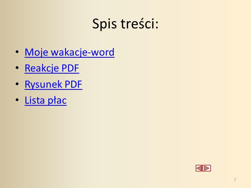Spis treści: Moje wakacje-word Reakcje PDF Rysunek PDF Lista płac 2