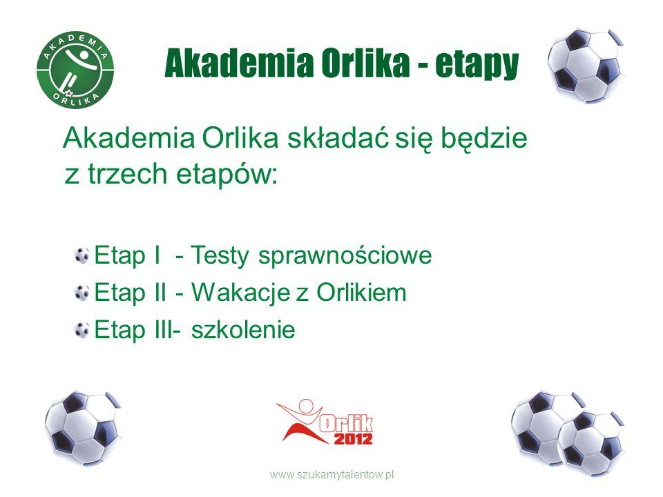 Akademia Orlika - etapy Akademia Orlika składać się będzie z trzech etapów: Etap I - Testy sprawnościowe Etap II - Wakacje z Orlikiem Etap III- szkolenie www.szukamytalentow.pl