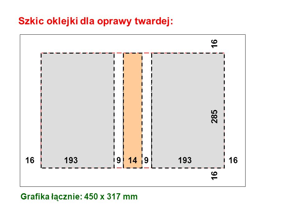 Szkic oklejki dla oprawy twardej: Grafika łącznie: 450 x 317 mm 16 193 9 9 193 16 16 285 16 14