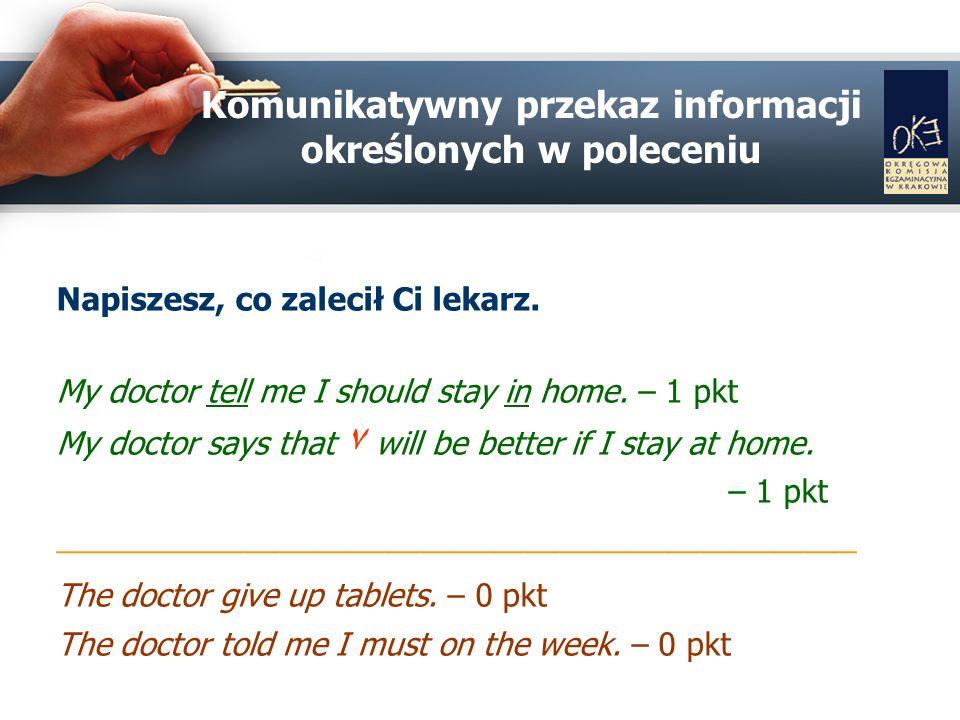Komunikatywny przekaz informacji określonych w poleceniu Napiszesz, co zalecił Ci lekarz.