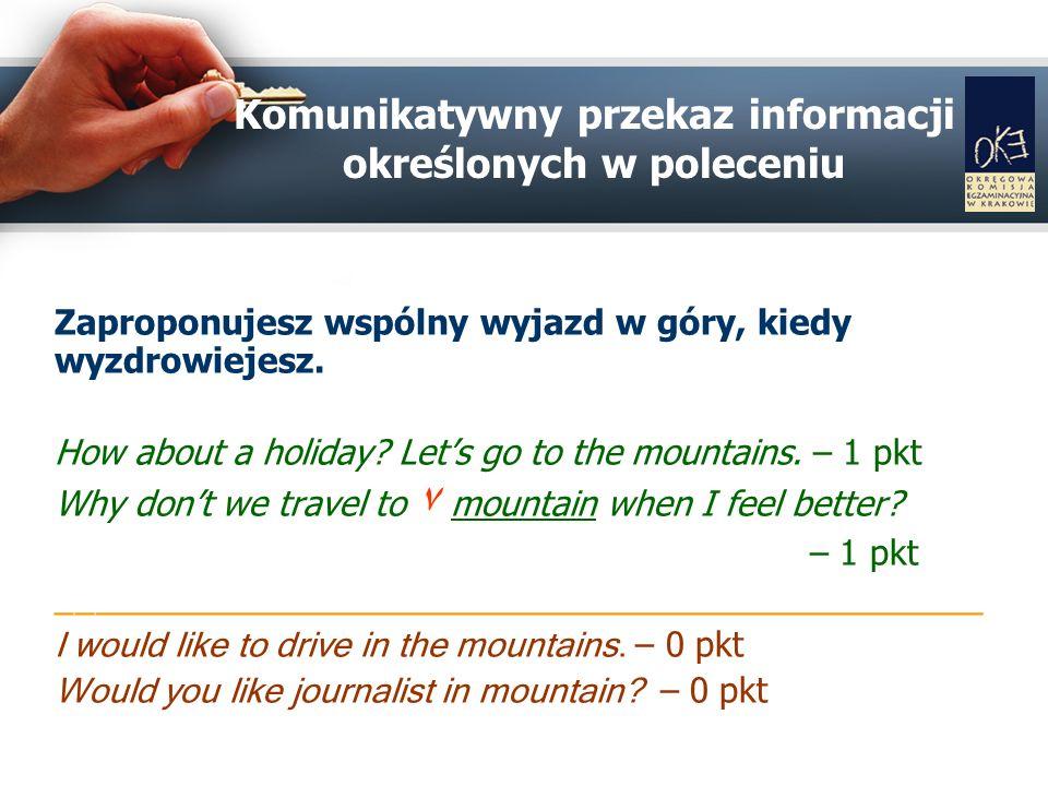 Komunikatywny przekaz informacji określonych w poleceniu Zaproponujesz wspólny wyjazd w góry, kiedy wyzdrowiejesz.