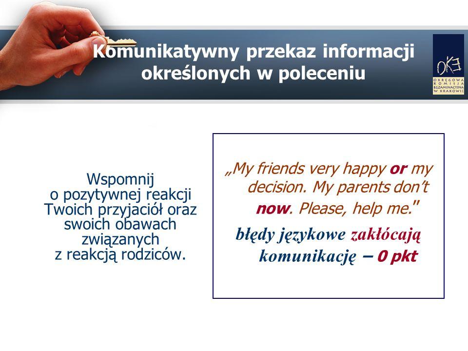 Komunikatywny przekaz informacji określonych w poleceniu Wspomnij o pozytywnej reakcji Twoich przyjaciół oraz swoich obawach związanych z reakcją rodziców.