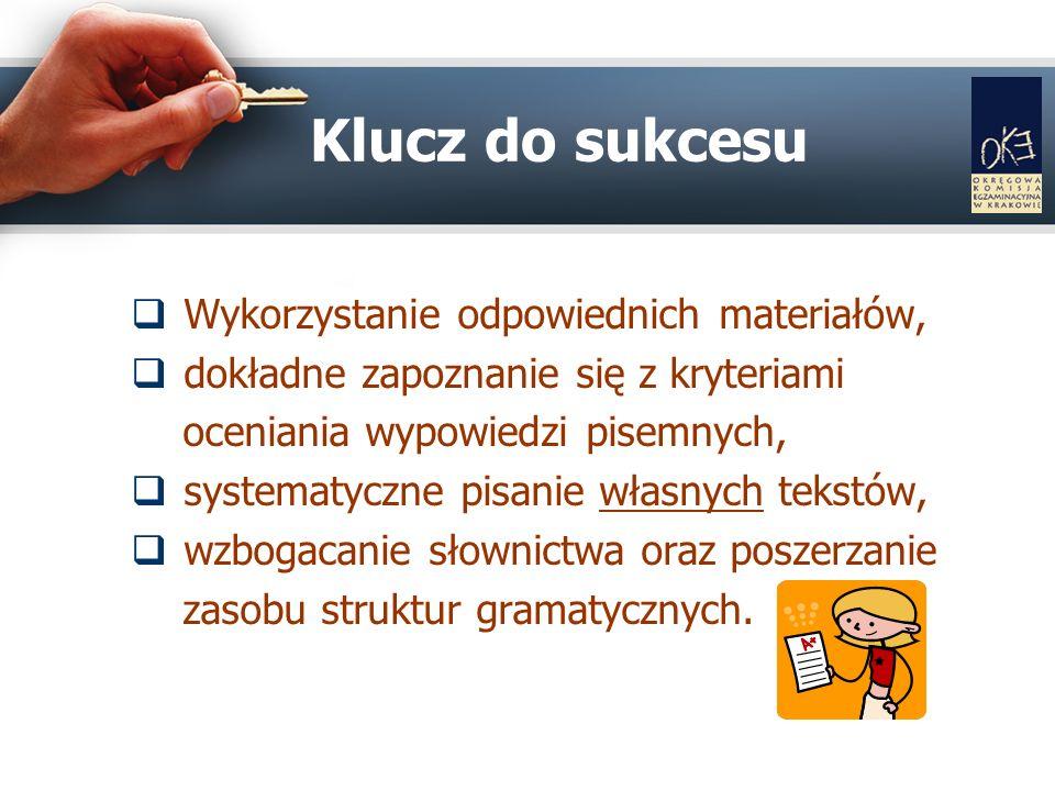 Wykorzystanie odpowiednich materiałów, dokładne zapoznanie się z kryteriami oceniania wypowiedzi pisemnych, systematyczne pisanie własnych tekstów, wzbogacanie słownictwa oraz poszerzanie zasobu struktur gramatycznych.