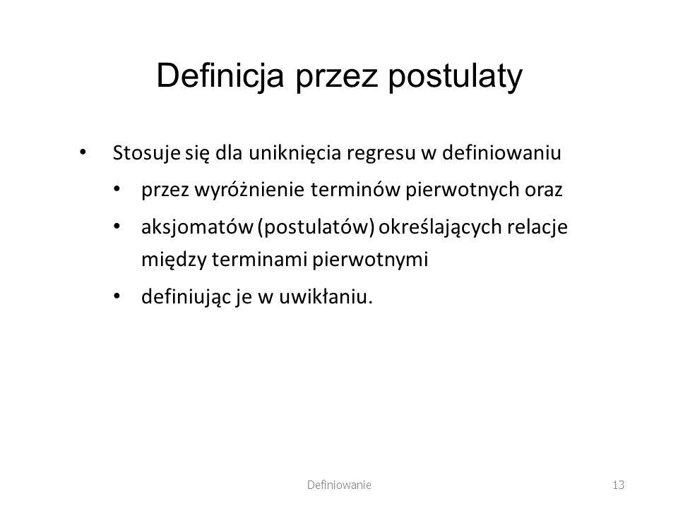 Definicja przez postulaty Stosuje się dla uniknięcia regresu w definiowaniu przez wyróżnienie terminów pierwotnych oraz aksjomatów (postulatów) określ