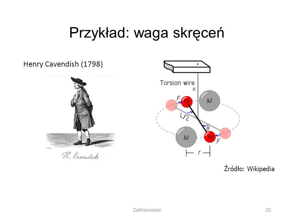 Przykład: waga skręceń Henry Cavendish (1798) Definiowanie 20 Źródło: Wikipedia