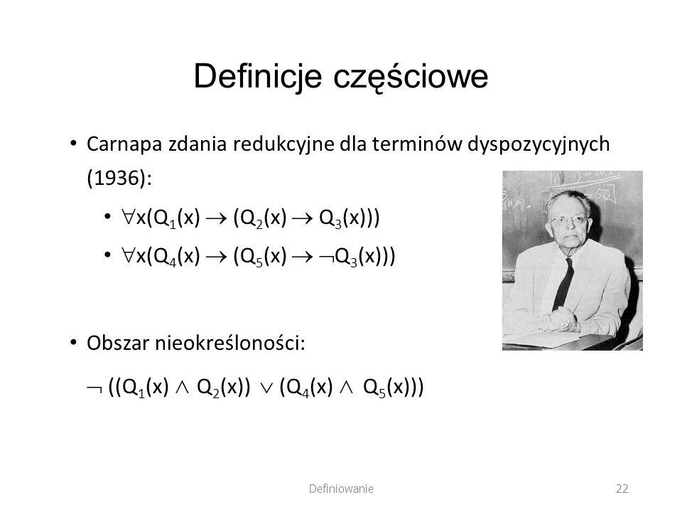 Definicje częściowe Carnapa zdania redukcyjne dla terminów dyspozycyjnych (1936): x(Q 1 (x) (Q 2 (x) Q 3 (x))) x(Q 4 (x) (Q 5 (x) Q 3 (x))) Obszar nie