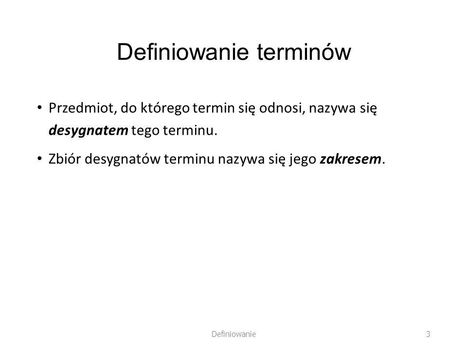 Definiowanie terminów Przedmiot, do którego termin się odnosi, nazywa się desygnatem tego terminu. Zbiór desygnatów terminu nazywa się jego zakresem.