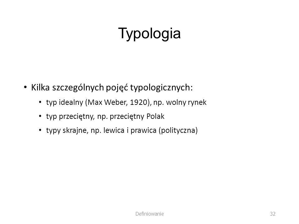 Typologia Kilka szczególnych pojęć typologicznych: typ idealny (Max Weber, 1920), np. wolny rynek typ przeciętny, np. przeciętny Polak typy skrajne, n