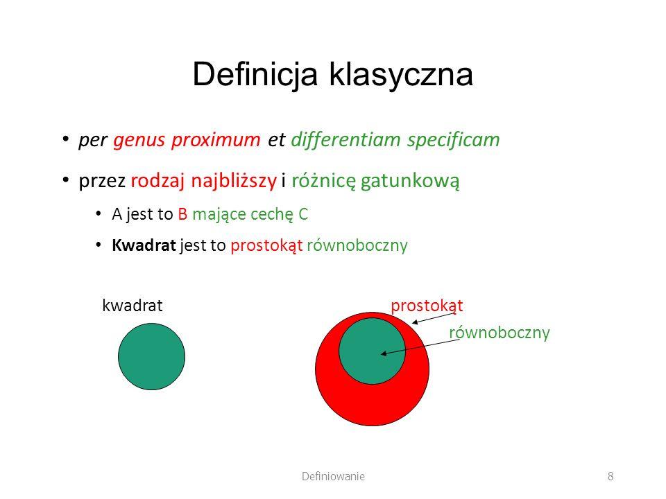Definicja klasyczna per genus proximum et differentiam specificam przez rodzaj najbliższy i różnicę gatunkową A jest to B mające cechę C Kwadrat jest
