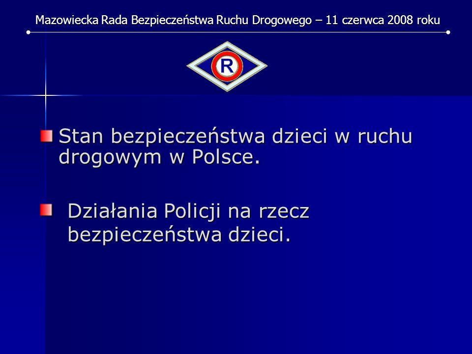 Stan bezpieczeństwa dzieci w ruchu drogowym w Polsce. Mazowiecka Rada Bezpieczeństwa Ruchu Drogowego – 11 czerwca 2008 roku Działania Policji na rzecz