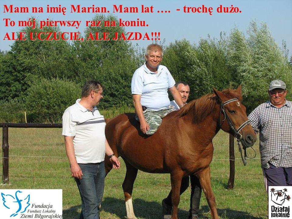 W żółtej koszulce na koniu to ja Karol.Mama mówi, że odkąd jeżdżę na Rudej jestem spokojniejszy.