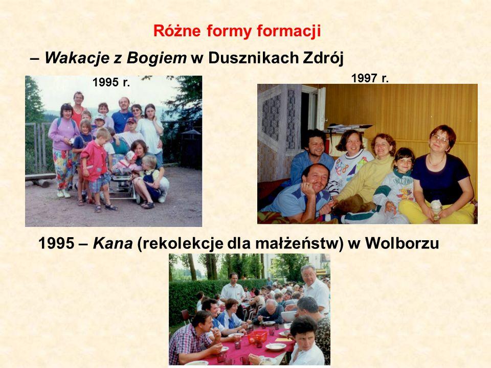 Różne formy formacji – Wakacje z Bogiem w Dusznikach Zdrój 1995 – Kana (rekolekcje dla małżeństw) w Wolborzu 1995 r. 1997 r.