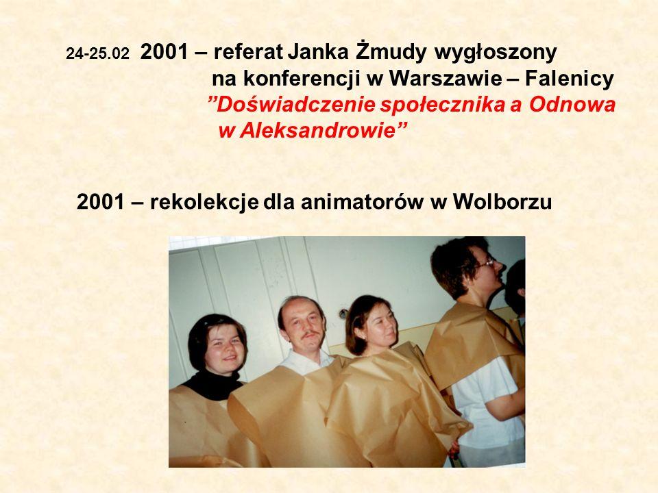 24-25.02 2001 – referat Janka Żmudy wygłoszony na konferencji w Warszawie – Falenicy Doświadczenie społecznika a Odnowa w Aleksandrowie 2001 – rekolek
