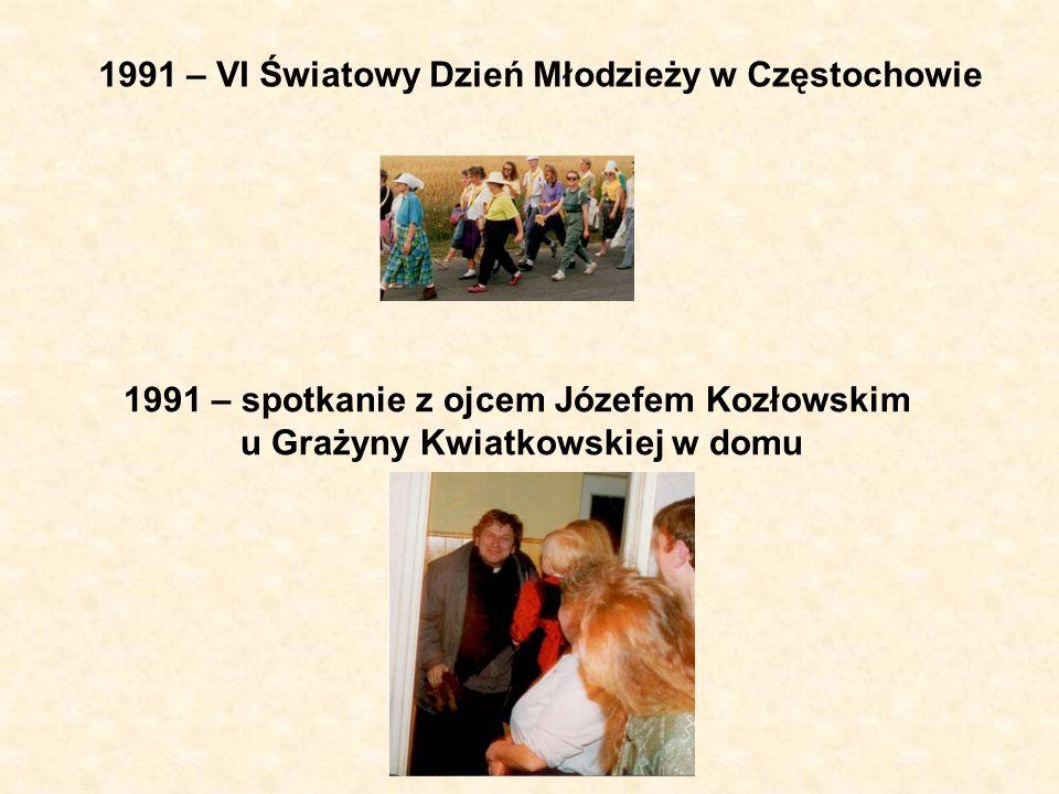 1991 – pierwsze rekolekcje ignacjańskie Żmudów w Kaliszu 1991 – pierwsza ewangelizacja w parafii książką Jezus żyje (Kanaan) 1991 – I Forum Charyzmatyczne w Łodzi