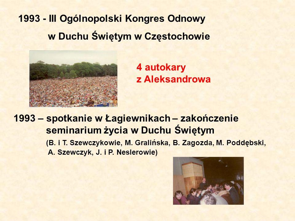 1993 - III Ogólnopolski Kongres Odnowy w Duchu Świętym w Częstochowie 4 autokary z Aleksandrowa 1993 – spotkanie w Łagiewnikach – zakończenie seminari