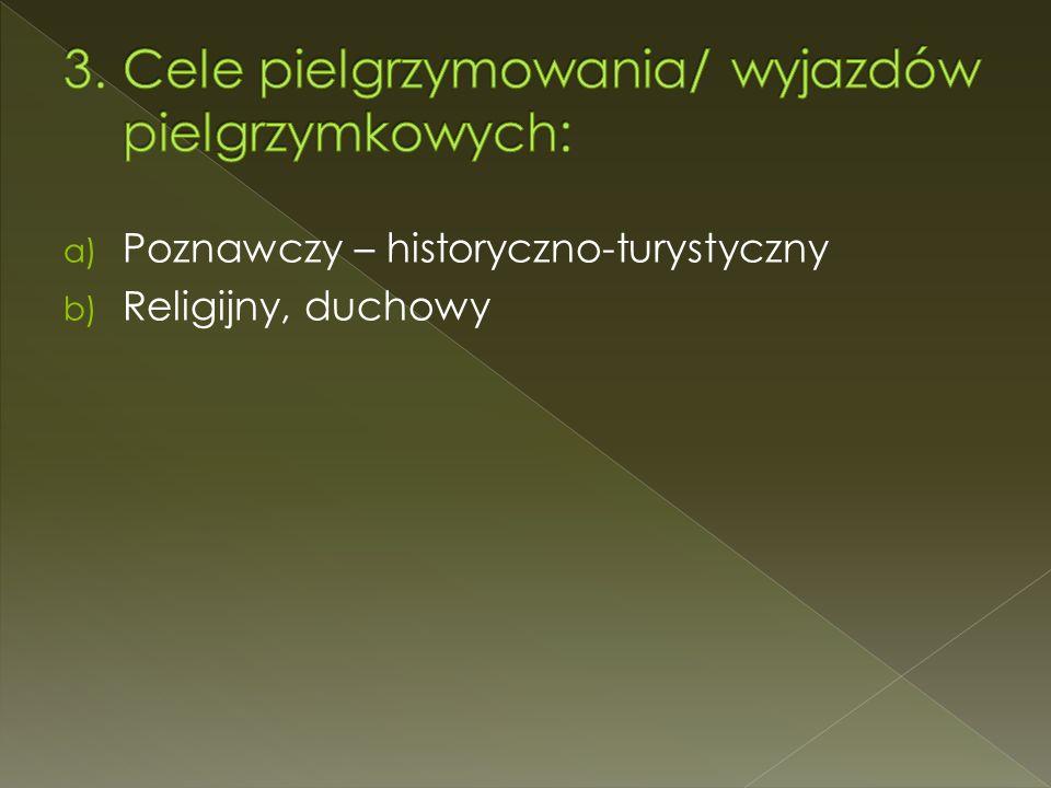 a) Poznawczy – historyczno-turystyczny b) Religijny, duchowy