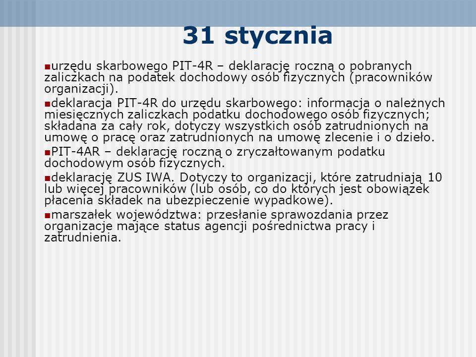 31 stycznia urzędu skarbowego PIT-4R – deklarację roczną o pobranych zaliczkach na podatek dochodowy osób fizycznych (pracowników organizacji). deklar