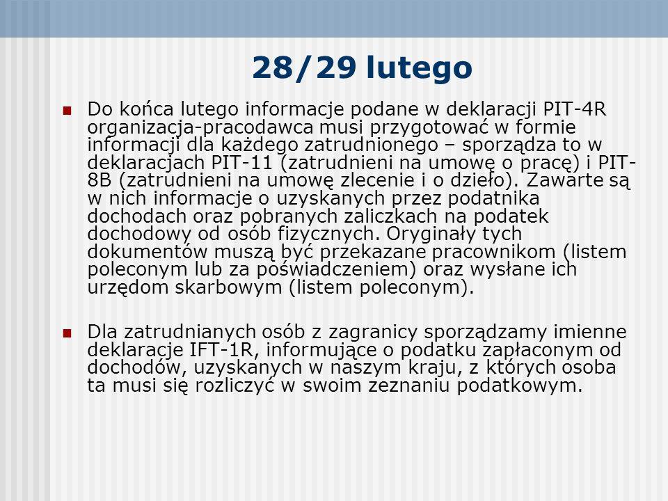 28/29 lutego Do końca lutego informacje podane w deklaracji PIT-4R organizacja-pracodawca musi przygotować w formie informacji dla każdego zatrudnione