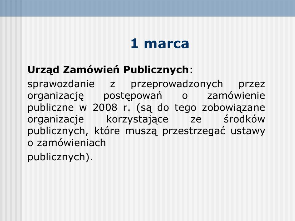 1 marca Urząd Zamówień Publicznych: sprawozdanie z przeprowadzonych przez organizację postępowań o zamówienie publiczne w 2008 r. (są do tego zobowiąz