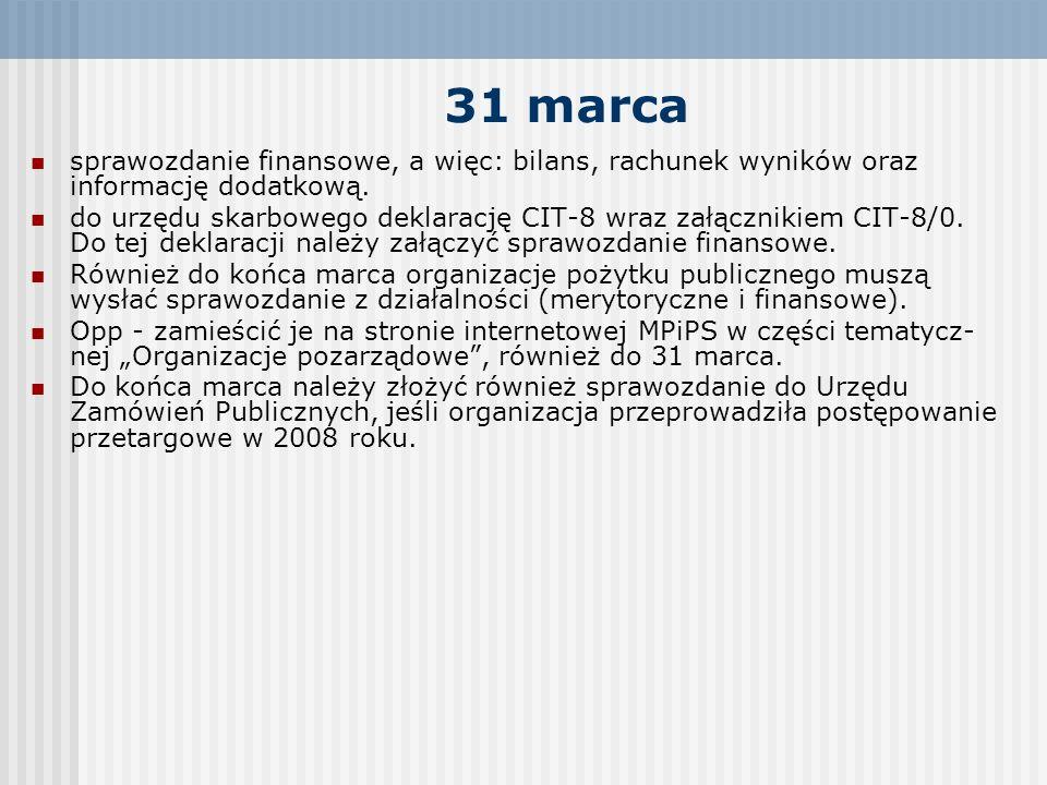 31 marca sprawozdanie finansowe, a więc: bilans, rachunek wyników oraz informację dodatkową. do urzędu skarbowego deklarację CIT-8 wraz załącznikiem C