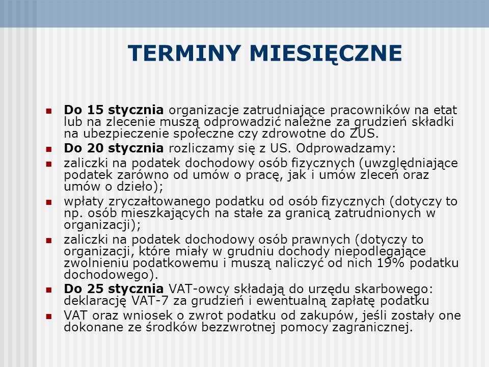 TERMINY MIESIĘCZNE Do 15 stycznia organizacje zatrudniające pracowników na etat lub na zlecenie muszą odprowadzić należne za grudzień składki na ubezp