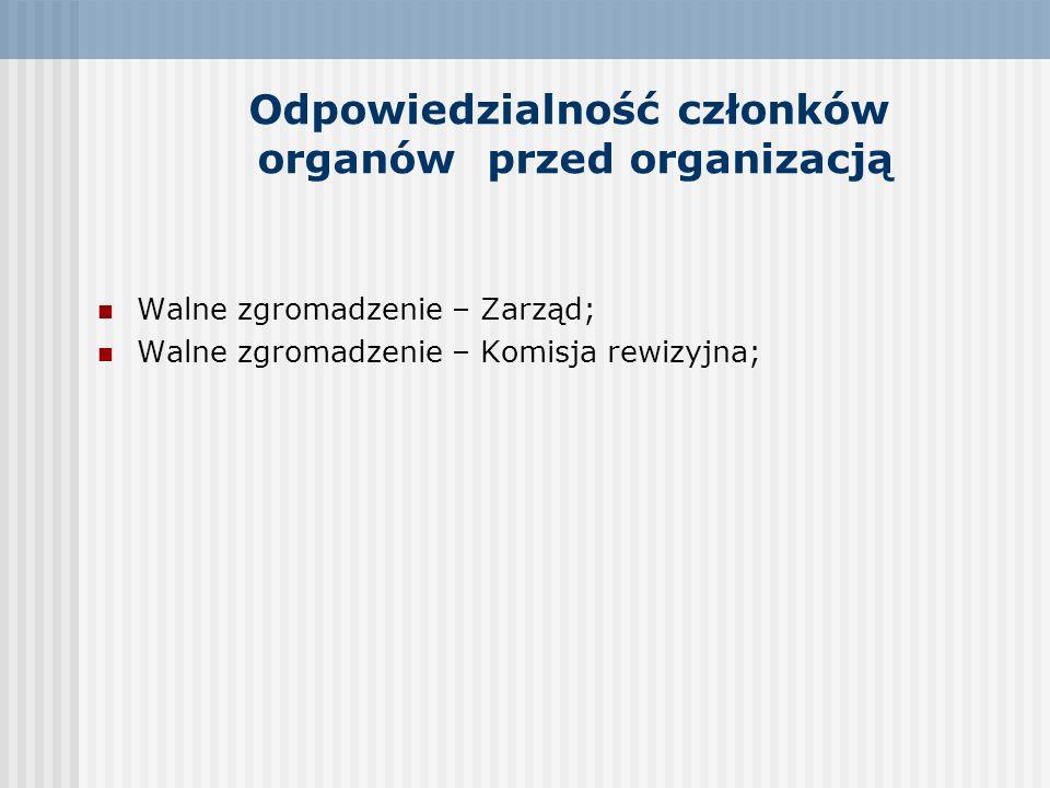 Odpowiedzialność członków organów przed organizacją Walne zgromadzenie – Zarząd; Walne zgromadzenie – Komisja rewizyjna;