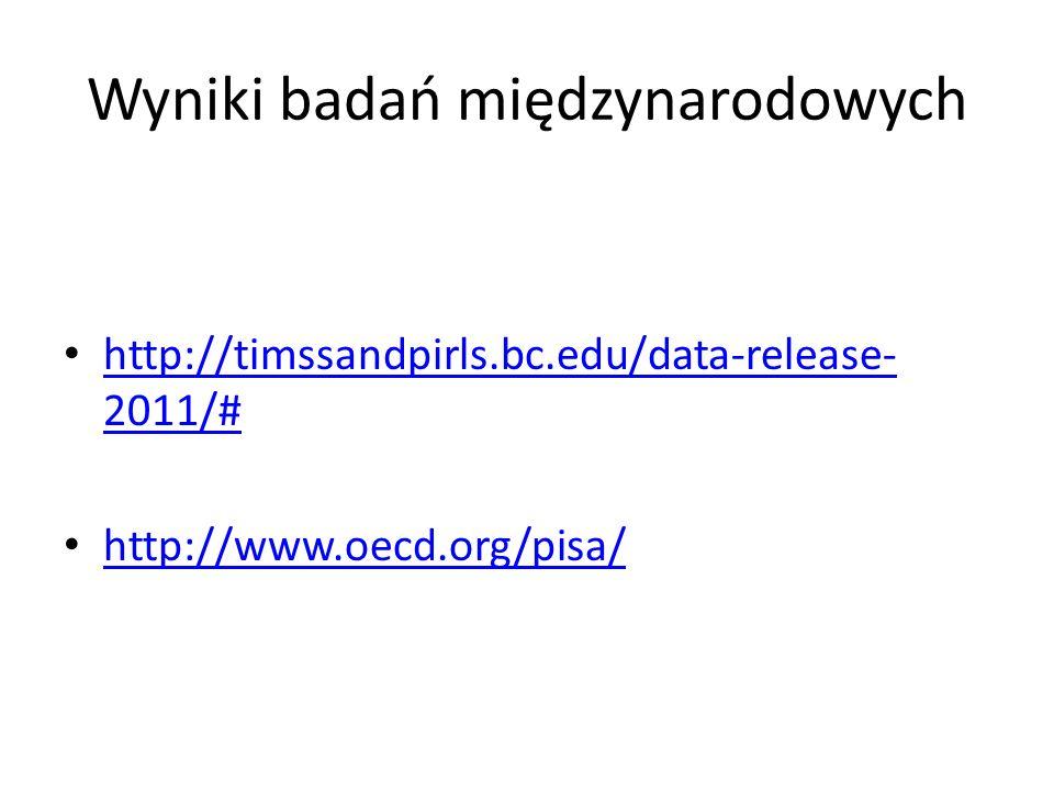 Wyniki badań międzynarodowych http://timssandpirls.bc.edu/data-release- 2011/# http://timssandpirls.bc.edu/data-release- 2011/# http://www.oecd.org/pi