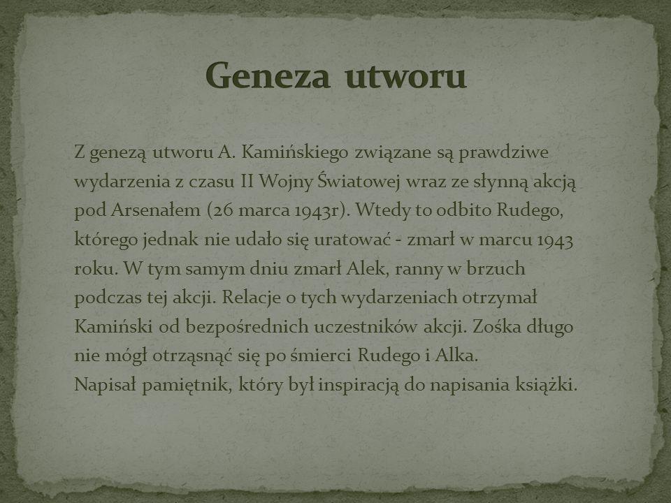 Z genezą utworu A. Kamińskiego związane są prawdziwe wydarzenia z czasu II Wojny Światowej wraz ze słynną akcją pod Arsenałem (26 marca 1943r). Wtedy