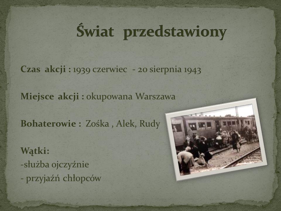 Czas akcji : 1939 czerwiec - 20 sierpnia 1943 Miejsce akcji : okupowana Warszawa Bohaterowie : Zośka, Alek, Rudy Wątki: -służba ojczyźnie - przyjaźń c