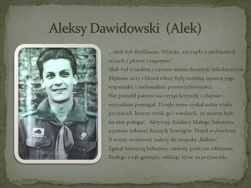 ,, Alek był dryblasem. Wysoki, szczupły o niebieskich oczach i płowej czuprynie. Alek był wysokim i zawsze uśmiechniętym młodzieńcem. Błękitne oczy i