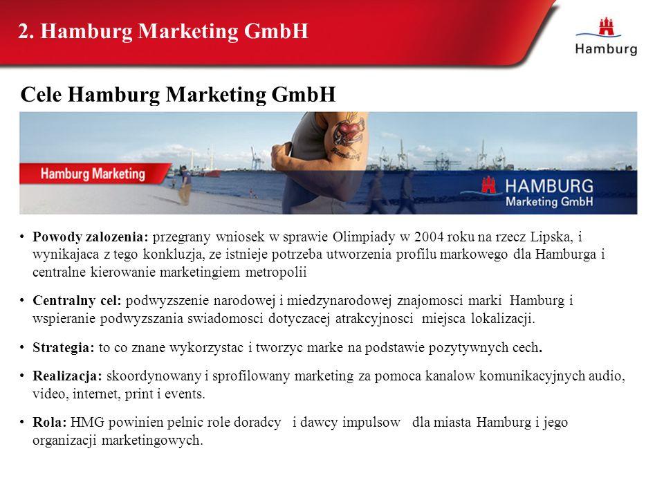 2. Hamburg Marketing GmbH Powody zalozenia: przegrany wniosek w sprawie Olimpiady w 2004 roku na rzecz Lipska, i wynikajaca z tego konkluzja, ze istni