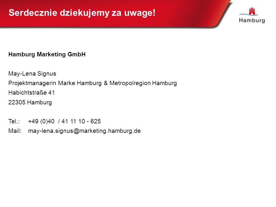 Serdecznie dziekujemy za uwage! Hamburg Marketing GmbH May-Lena Signus Projektmanagerin Marke Hamburg & Metropolregion Hamburg Habichtstraße 41 22305