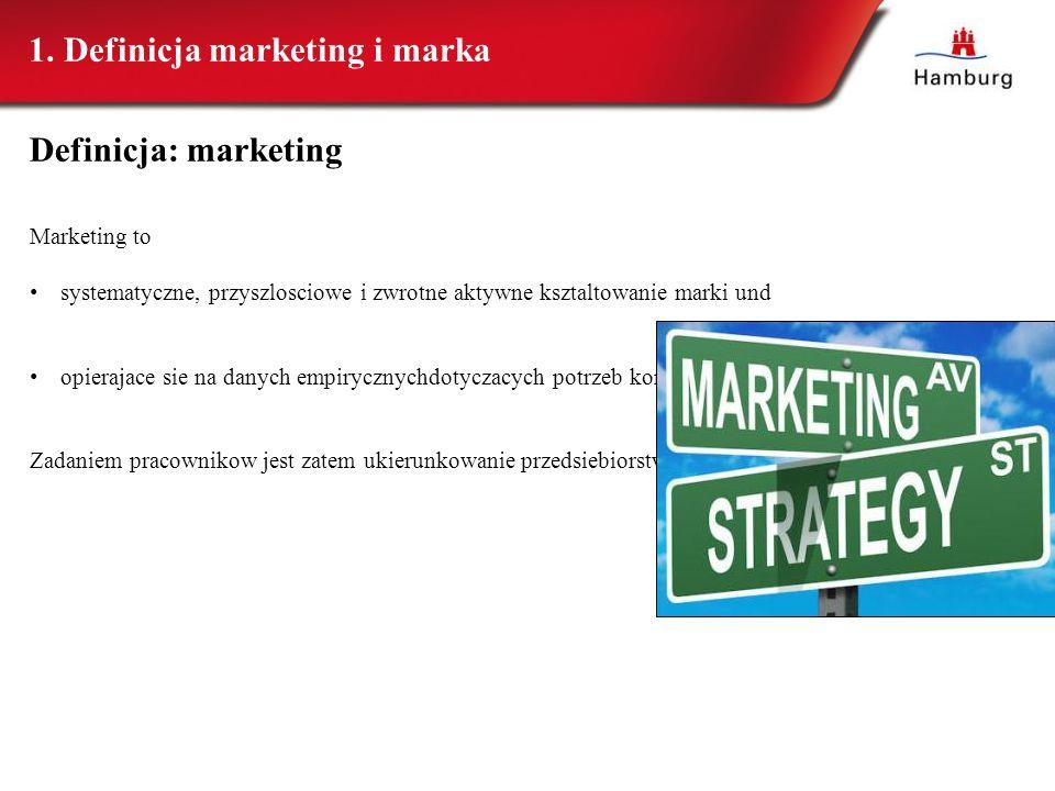 Definicja: marketing Marketing to systematyczne, przyszlosciowe i zwrotne aktywne ksztaltowanie marki und opierajace sie na danych empirycznychdotycza