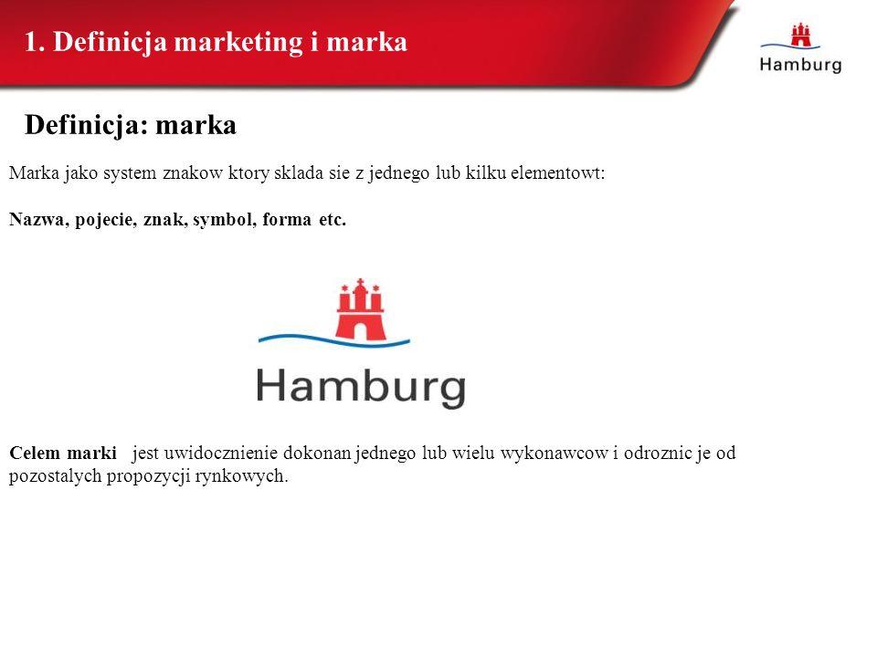 Definicja: marka Marka jako system znakow ktory sklada sie z jednego lub kilku elementowt: Nazwa, pojecie, znak, symbol, forma etc. Celem marki jest u