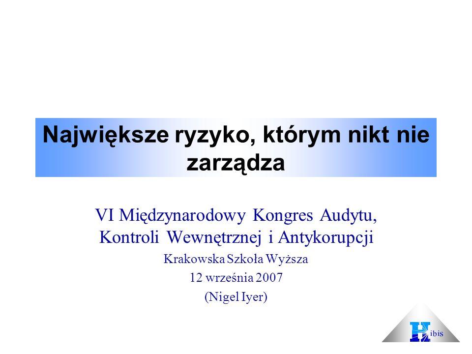 Największe ryzyko, którym nikt nie zarządza VI Międzynarodowy Kongres Audytu, Kontroli Wewnętrznej i Antykorupcji Krakowska Szkoła Wyższa 12 września