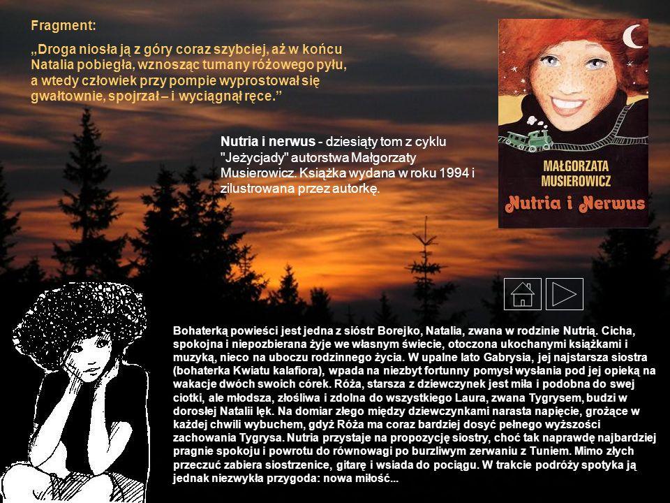 Bohaterką powieści jest jedna z sióstr Borejko, Natalia, zwana w rodzinie Nutrią. Cicha, spokojna i niepozbierana żyje we własnym świecie, otoczona uk