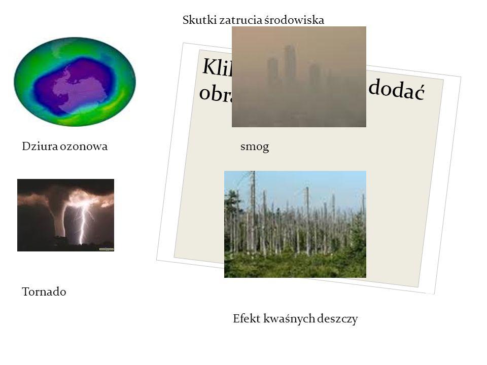 Kliknij ikonę, aby dodać obraz Skutki zatrucia środowiska Dziura ozonowasmog Tornado Efekt kwaśnych deszczy