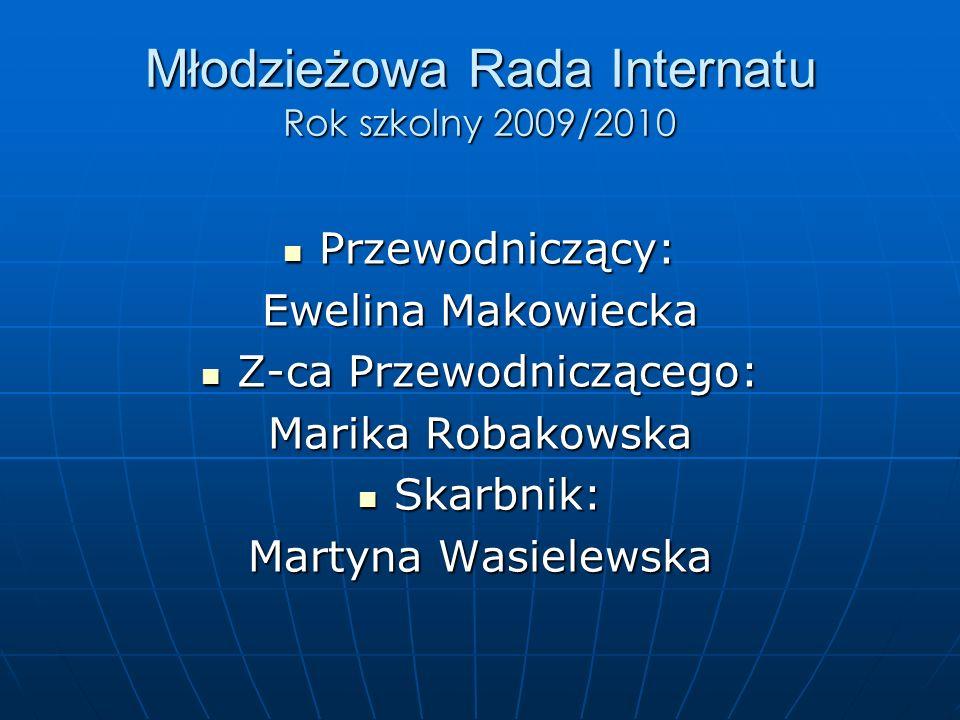Młodzieżowa Rada Internatu Rok szkolny 2009/2010 Przewodniczący: Przewodniczący: Ewelina Makowiecka Z-ca Przewodniczącego: Z-ca Przewodniczącego: Marika Robakowska Skarbnik: Skarbnik: Martyna Wasielewska